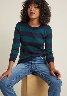 Charter School Pullover Sweater in Navy Stripes in 1X - Long Waist by ModCloth - Plus Sizes Available