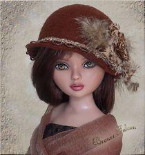 Ellowyne, OOAK BRONZE FALCON Hat by Linda for Ellowyne, itsa_doll_hat_affair via eBay SOLD 12/10/13  BIN $21.95