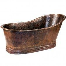 "67"" Hammered Copper Slipper Single Bathtub Angled View"