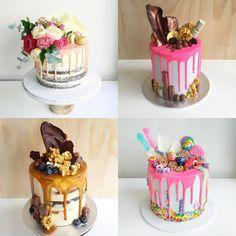 conheça os drip cakes, bolos com cobertura escorrida e decorados com doces.