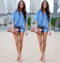 total jeans #totaldemin #streetstyle #fashion #moda #look #looks #style #short #camisa #jeans