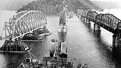 Hawkesbury River Railway Bridge.....the old and the new bridges in 1945.A♥W