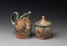 ceramic creamer and sugar bowl by Colleen Riley