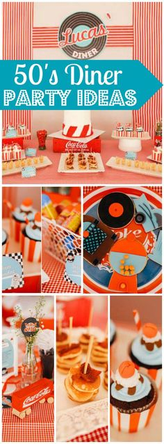 Love this 50's diner party with hoola hoops and bubble gum! See more party ideas at http://CatchMyParty.com!