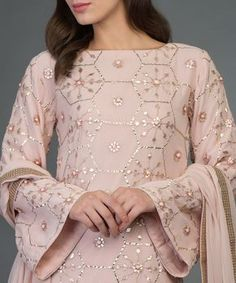 Best 12 Nude Pink Hand Embroidered Rose Gold Gota Patti Suit With Dupatta Indian Party Wear, Indian Wedding Outfits, Indian Outfits, Bridal Outfits, Dress Wedding, Stylish Dresses, Women's Fashion Dresses, Dresses For Work, Kurta Designs