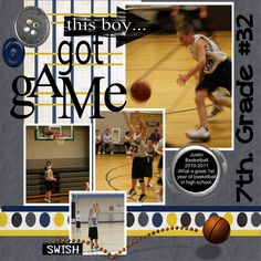 basketball scrapbook page
