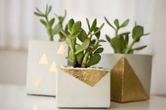 Well, those cement planters need some decor you say? How about (black/white/geometric) washi tape AND gold leaf. Yup.