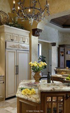 Diy Interior Furniture, Stucco Homes, Mediterranean Style Homes, Luxury Kitchen Design, Wood Accents, Custom Homes, Luxury Homes, House Design, Houses