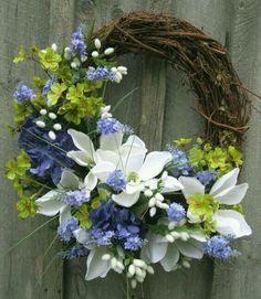 Floral Wreath, Spring Door Wreath, Summer Wreath, Wedding, Mothers Day Gift via… Diy Spring Wreath, Spring Door Wreaths, Easter Wreaths, Holiday Wreaths, Wreaths For Front Door, Diy Fleur, Corona Floral, Grapevine Wreath, Floral Arrangements