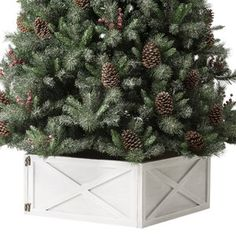 The Holiday Aisle® Snowy Avalanche 7.5 Green Spruce Artificial Christmas Tree with 600 Clear Lights & Reviews   Wayfair Alpine Christmas Tree, Frozen Christmas Tree, Flocked Artificial Christmas Trees, Merry Christmas, Christmas Time, Christmas Ideas, Disney Diy, Disney Frozen, Tree Collar