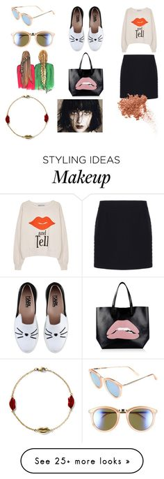 """""""Smirk"""" by nadaanja on Polyvore featuring Wildfox, Balenciaga, Karl Lagerfeld, RED Valentino, Le Specs, Alison Lou and TheBalm"""