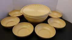 Vintage Harvest Gold Yellow 880 & 890 TUPPERWARE USA Salad BOWLS 8 piece Set