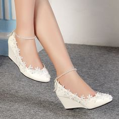 Lace white ivory crystal Wedding shoes Bridal flat low high heel wedge size 4-10 #Laceup
