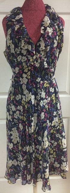 Lauren Ralph Lauren Blue Floral Sleeveless Wrap Tie Back Dress Size 12 V-Neck…