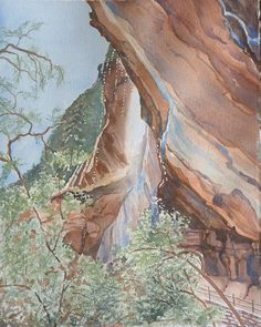 "watercolor ""Waterfall, Zion National Park"" by Leslie White, Trailhead Studios 11x14 http://www.trailheadstudios.com/"
