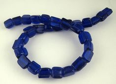 """Recycled Glass Beads - Cobalt blue- 15"""" strand"""