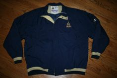 Mens NOTRE DAME Irish Football sideline quilt-lined CHAMPION Jacket-XL-Gold Dome