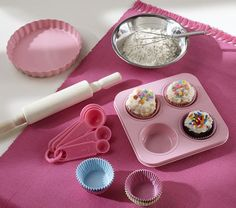 Mini Baking Set. Kids can get creative baking their favorite cupcakes.