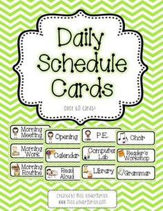 Pink and Green Chevron Daily Schedule Cards- With and Without Analog Clocks!
