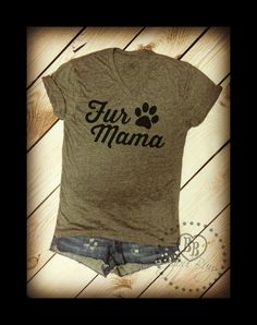 FUR MAMA Design on Tri-blend Gray V-neck Tee Shirt by BijouBuys