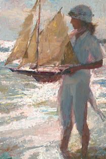 """""""Emily and the Pond Yacht,"""" Oil on Linen, 36x24, by CW Mundy"""