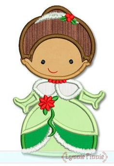 Embroidery Designs - Christmas Princess Applique 4 4x4 5x7 6x10 SVG - Welcome to Lynnie Pinnie.com! Instant download and free applique machine embroidery designs in PES, HUS, JEF, DST, EXP, VIP, XXX AND ART formats.