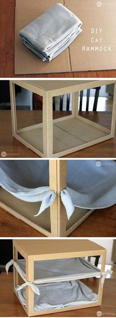 A Simple DIY Cat Hammock Create this cozy cat hammock using a cardboard box and and an old blanket! Your kitty will love you! :-)Create this cozy cat hammock using a cardboard box and and an old blanket! Your kitty will love you! Diy Cat Toys, Diy Toys For Rabbits, Homemade Cat Toys, Bunny Toys, Diy Jouet Pour Chat, Diy Cat Hammock, Diy Cat Bed, Hammock Ideas, Cat House Diy