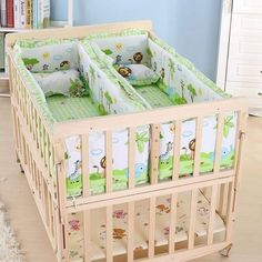 Multifunction Baby Cot Twin Baby Crib Solid Wood Baby Cradle Rolling Baby Playpen Crib for Newborn Can Be Learning Desk Twin Baby Beds, Baby Cribs For Twins, Twin Baby Rooms, Twin Babies, Baby Bedroom, Small Twin Nursery, Nursery Twins, Baby Table, Child Room