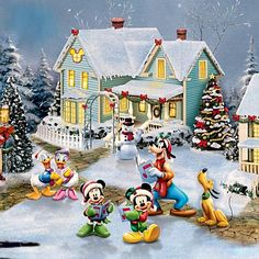 Every kit gives you a chance to create a work of art you can be proud of. This diamond painting kit Mickey Christmas, Christmas Scenes, Noel Christmas, Vintage Christmas, Thomas Kinkade Disney, Arte Do Mickey Mouse, Mickey Mouse And Friends, Minnie Mouse, Disney Fun