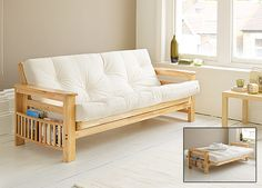 Kyoto Futons Ltd Houston Sofa Bed Natural Solid Wooden Futon Frame Which Comes With An Upholstered Chenille Mattress