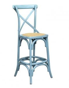 Cross Back Bar Stool Blue. A Block and Chisel Product.