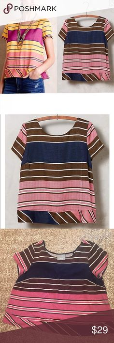 """Anthropologie Maeve Brown/Blue Bennett Top Sz L 🔹Maeve from Anthropologie  🔹""""Bennett Top"""" in brown/blue/pink.   🔹Cross over back. Cropped.  🔹Size tag removed - best for size L  🔹Viscose  🔹Excellent used condition!  🔹Bust: 20.5"""" across the front, lying flat.   🔹Length: 21.5"""" from shoulder to hem.   ✳️ Bundle to Save 20%!  ❌ No Trades, Holds, PP, Modeling  🎀 100% Authentic!   ⭐️⭐️ Suggested User • 1500+ Sales • Fast Shipper • Best in Gifts Party Host! ⭐️⭐️ Anthropologie Tops"""