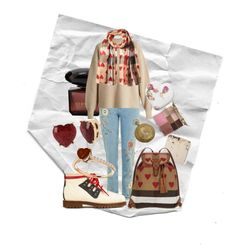 """cottage cupid"" by defenderofearth ❤ liked on Polyvore featuring Stila, The Row, Burberry, Betsey Johnson, valentine, valentinesday and cupid"