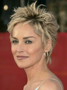 Sharon Stone pixie hairstyle with highlights