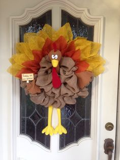 Burlap turkey wreath