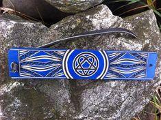 Blue heartagram hand carved leather bracelet   tooled leather