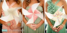 Pinwheel wedding bouquets for the bridesmaids #pinwheel