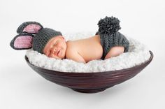 Newborn Baby in Bunny Outfit. Eight day old smiling newborn baby boy wearing bun , So Cute Baby, Cute Kids, Cute Babies, Baby Bunny Outfit, Bunny Hat, Bunny Rabbit, Baby Dress, Newborn Pictures, Baby Pictures