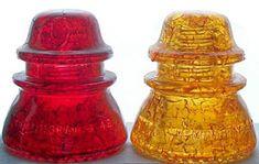 Red and Orange Cracked glass Hemingray #42