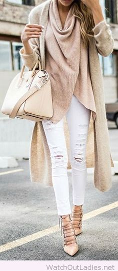 White pants, nude pumps, blouse, coat and bag
