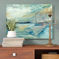 Trent Austin Design Boat on Broads Painting Print on Wrapped Canvas Size: Reclaimed Wood Nightstand, Boat Art, Beach Print, Coastal Art, Pillow Sale, Canvas Size, Color Splash, Painting Prints, Wrapped Canvas