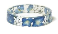 Jewelry made with real flowers, resin jewelry, real flower jewelry, blue flower jewelry