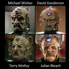 The many faces of Davros. Original Doctor Who, Dr Who Companions, Doctor Who Episodes, Blake Lively Style, The Rouge, Watch Doctor, Weapon Concept Art, Dalek, Good Doctor