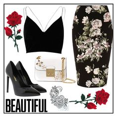"""Flower"" by mahira-muminovic ❤ liked on Polyvore featuring River Island, Yves Saint Laurent and MICHAEL Michael Kors"
