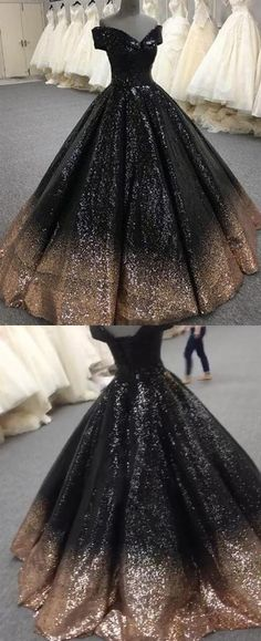 9c13d1480c0 Bling Bling Sequins Gold Black Ball Gown Prom Dresses Off Shoulder Formal  Evening gown masquerade