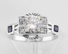 Sterling Silver CZ / Sapphire Filigree Ring - Art Deco Style