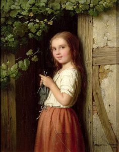 Young Girl Standing In A Doorway Knitting by Johann Georg Meyer von Bremen (1813-1886)