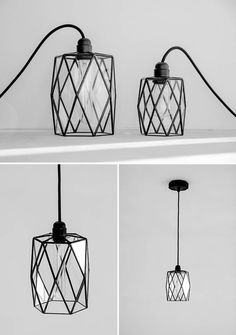Unique in symmetry, these modern black glass pendant lights look different geometrically from various angles.