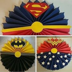 "Who here has already made ""paper rosettes"" to decorate a party? It is a great option for those with doubts about what to do on the party panel, for Superman Birthday, Superhero Birthday Party, Birthday Parties, Diy Crafts For Gifts, Paper Crafts, Comic Party, Wonder Woman Party, Birthday Posts, Paper Rosettes"