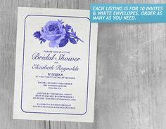 Royal Blue Rustic Floral/Flower Bridal Shower Invitations